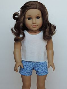 Blue Floral Shorts American Girl Doll by HerDollEssentials
