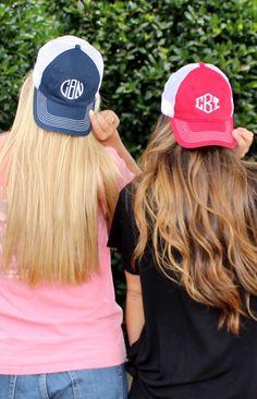 Monogrammed Trucker Baseball Hat - Marleylilly.com #hairgoals