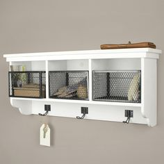 wall cabinet white wooden basket industrial black
