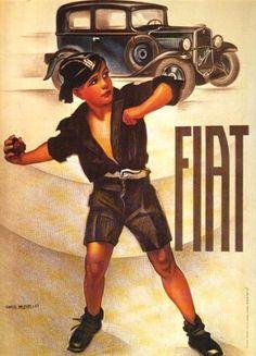A boy in the Balilla (Fascist youth organization) uniform, promoting a new FIAT, also called Balilla.