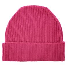Bright pink 100% cashmere ribbed beanie hat by Orwell + Austen