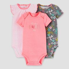 Baby Girls' 3 Pack Auntie Loves Me Bodysuit Set Pink/Grey - Just One You™ Made by Carter's®