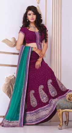 8b6e92ac5eea Exotic Magenta Velvet Lehenga Choli With Dupatta - IG6615 USD   154.09  Wedding Chaniya Choli