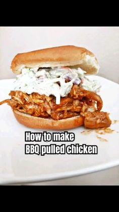 This simple slow cooker chicken is perfect on a bun with coleslaw or on a salad or pizza. It's a quick and easy family meal. Slow Cooker Barbeque Chicken, Barbeque Chicken Recipes, Easy Chicken Recipes, Crockpot Bbq Pulled Chicken, Pulled Pork, Shredded Chicken Sandwiches, Shredded Bbq Chicken, Bbq Chicken Sandwich, Bbq Sandwich