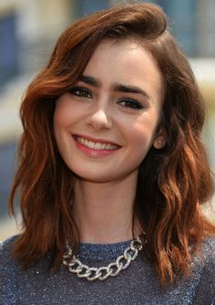 Lily Collins Fuss Free bob - Medium hairstyles for 2016 - wavy bob hair