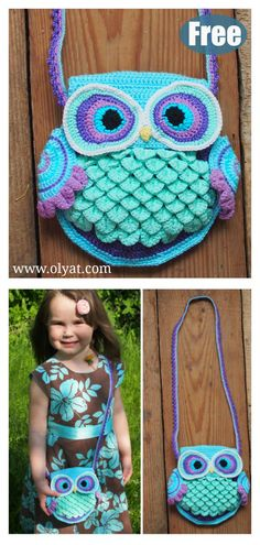 This Owl Purse Free Crochet Pattern is perfect for any little girlies you know. You can switch up the colors to suit your own personal look. Crochet Owl Purse, Crochet Tote, Crochet Bear, Crochet Handbags, Crochet Purses, Crochet Birds, Crochet Animals, Crochet Blankets, Purse Patterns Free