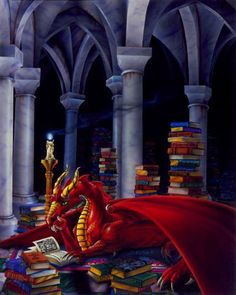 """""""Priceless Treasure"""" by Sue Dawe - a dragon's true hoard is not gold, but books..."""