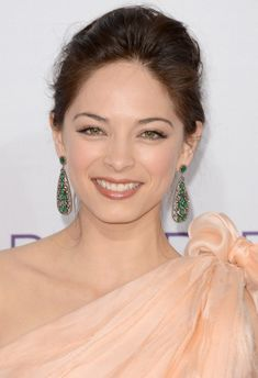 Kristin Kreuk - love her makeup, earrings, and the color of that peach dress!