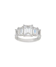 Diamonique® & Sterling Silver Five-Stone Emerald-Cut Ring