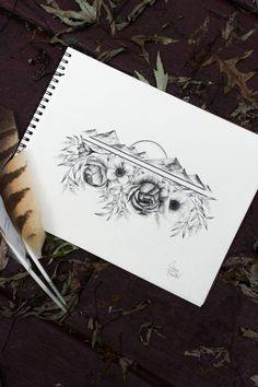 Mountain charcoal drawing. Sunrise over the mountains with flowers. Bohemian tattoo design. Adventure design.