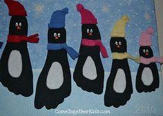 Tapa álbum escolar pingüinos. Dibujar pingüino con los pies. Portada infantil primer trimestre