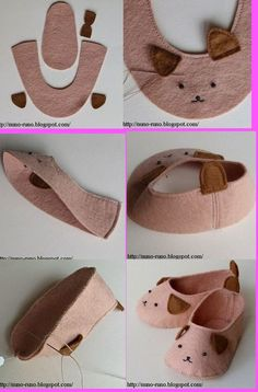 Felt Baby Slippers: Plus Doll Shoe Patterns, Baby Shoes Pattern, Girl Doll Clothes, Girl Dolls, Baby Dolls, Sewing For Kids, Baby Sewing, Sew Baby, Felt Baby Shoes