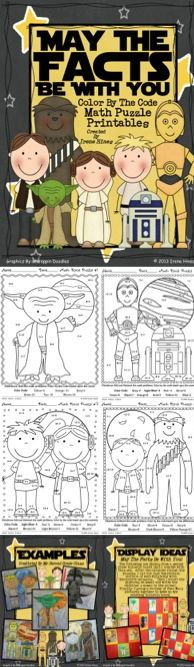STAR WARS MATH: May The Facts Be With You ~ 6 Color By The Code Math Puzzle Printables! Use the children's love of Star Wars to practice basic addition and subtraction math facts as well as odd and even number recognition.