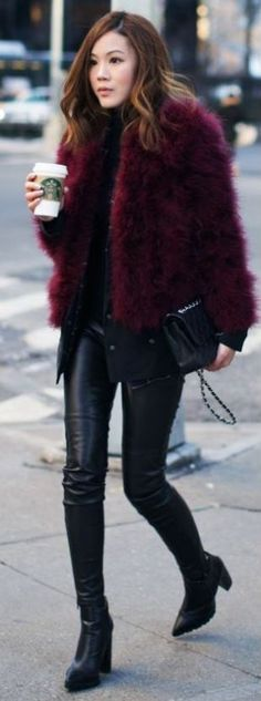 Take a look at 35 fur coat outfits to copy this winter in the photos below and get ideas for your own cold weather looks! Faux Fur Coat Outfits: Sendi Skopljak is wearing a popularity faux fur coat from Chicy… Continue Reading → Fur Coat Outfit, Leather Leggings Outfit, Legging Outfits, Leather Pants, Black Leather, Purple Leggings, Purple Pants, Fur Fashion, Trendy Fashion
