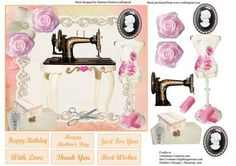 Sewing Room Card Topper Decoupage on Craftsuprint - Add To Basket!