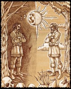 """Belobog, which, translated into English, means White god, was said to fight his evil brother Chernobog (""""Black God"""") twice a year for control of that year, with Belobog gaining control of the waxing half of the year and Chernobog control of the waning half. After the winter equinox day becomes longer — Belobog wins, and after the summer equinox it shortens - Chernobog wins."""