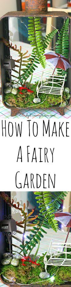 How To Make A Fairy Garden - DIY Fairy Garden Ideas - this is a easy how to make a fairy garden. Plant ideas and Furniture. I love the miniature Terrarium.