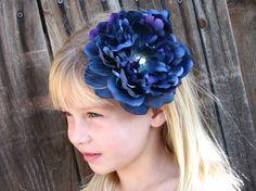 Dark Blue FascinatorFlower Hair ClipPeony by EnchantedlyYours