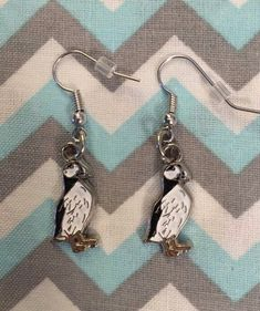 Enamel Black White PUFFIN Earrings Fish Hook Dangle Earrings | Etsy Fish Hook Earrings, Dangle Earrings, Travel Souvenirs, Happy Shopping, Gifts For Women, Jewerly, Dangles, Handmade Items, Enamel