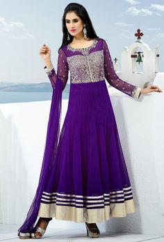 #Purple #Net #Readymade #Anarkali #Suit #nikvik  #usa #designer #australia #canada #purplecolor