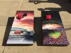 https://flic.kr/p/vj15XD | Wrigley Field meets Turner Field | Another Hand painted master piece. This cornhole set also features Chipper Jones