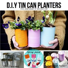 Creative DIY Garden Containers and Planters from Recycled Materials --> Colorful Tin Can Planters for Spring Painted Tin Cans, Paint Cans, Painted Metal, Hand Painted, Diy Planters, Planter Pots, Garden Planters, Herb Garden, Garden Container
