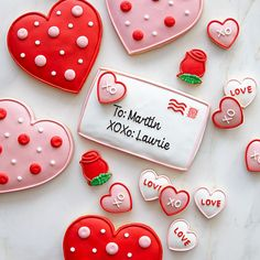 Personalized Valentine's Day letter and hearts decorated sugar cookies / Williams-Sonoma
