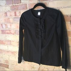 JCrew Black Ruffle Front Blouse 100% cotton JCrew Ruffle Front Blouse with top-to-bottom button closures. Like new condition. No visible signs of wear. J. Crew Tops Blouses