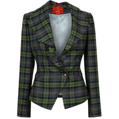 Vivienne Westwood Red Label Green & Black Tartan Tailored Jacket ($1,050) ❤ liked on Polyvore featuring outerwear, jackets, blazers, coats, coats & jackets, wool jacket, black jacket, tartan jacket, draped jacket and green wool jacket
