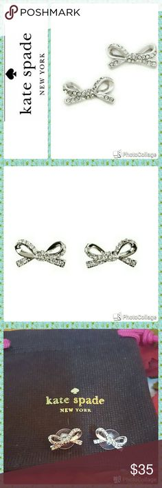 Kate Spade Skinny Mini Pav/Bow Stud Earrings In excellent condition.  Worn once. Kate Spade earrings.  Shiny plated metal bow earrings with pave crystals. Comes with dust bag. kate spade Jewelry Earrings