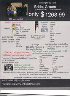 Tomorrow's Memories Bridal and Tuxedo Shop www.tmbridalshop.com price for renting bridal packages Custom dresses made affordable by renting