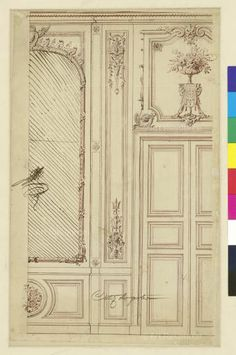 , Architectural Drawing & Design, Door, Drawing, Mirror, Pen and Ink, Pencil, Study, Sketch, Wall