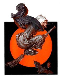 Norman Rockwell - The Saturday Evening Post - Witch Retro Halloween, Fall Halloween, Halloween Moon, Halloween Magic, Halloween Prints, Happy Halloween, American Illustration, Illustration Artists, Halloween Illustration