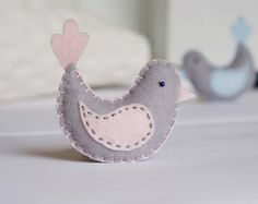 felt Baby Bird for nursery & crib -  home decor in pink and grey