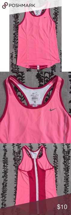 Nike top Womens Active top. In excellent condition! Love the color !  Moisture-wicking Dri-Fit and a fabulously freeing redesigned racerback put this Nike tank top on the leap lap for performance and style. • body and trim: polyester   •machine washable  •imported  •scoop neckline  •Nike logo at left chest Nike Tops Muscle Tees