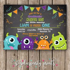 Monsters Birthday Invitation. Monster Invitation Monster