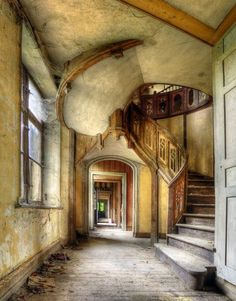 Abandoned ornate spiral stairs