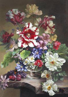 Bennett Oates (British, 1928-2009) - Still life with flowers.