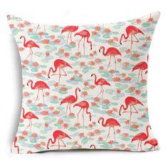 Flamingos Cushion Cover Cotton Linen Decorative Animal Pillowcase Chair Seat Waist Square 45x45cm Pillow Cover Home Textile