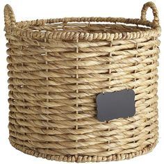 Pier 1 Imports Natural Bryant Round Basket with Chalkboard ($34) ❤ liked on Polyvore featuring home, home decor, small item storage, natural, pier 1 imports, round basket, handwoven baskets, round storage basket and water hyacinth basket