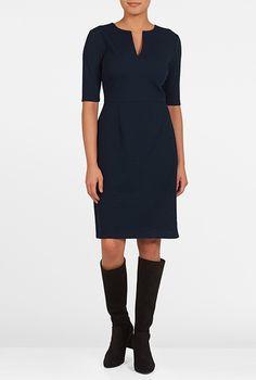 I <3 this Split neck jacquard knit sheath dress from eShakti