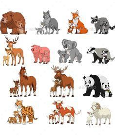 Illustration of illustration set of funny exotic animals, children and parents vector art, clipart and stock vectors. Free Vector Illustration, Vector Art, Tiger Vector, Vector Stock, Vector Graphics, Baby Animals, Funny Animals, Illustrations Vintage, Vintage Logo