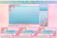 Cherry Blossom Pre-Made Stream Overlay Bundle by VeenaViera Visuals on Etsy Twitch Streaming Setup, Your Design, Web Design, Be Right Back, Cute Pink, Business Design, Cute Drawings, Cherry Blossom, Overlays