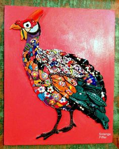 Mosaics by Solange Piffer and Alexandre Piffer.We do flower arrangement with mosaic, reusing broken porcelain, dishes, and ceramic pieces. Mosaic Animals, Mosaic Birds, Mosaic Designs, Mosaic Patterns, Mosaic Art Projects, Mosaic Ideas, Tile Ideas, Yarn Painting, Mirror Mosaic