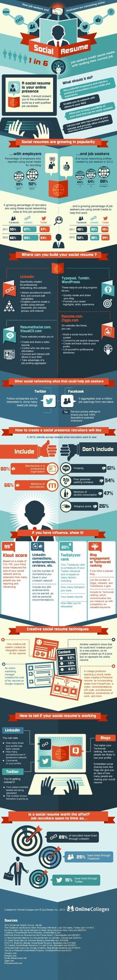 Social Resume: This infographic explores the growing role social media plays when recruiters look for new talent. Check it out for some handy tips! #socialmedia #recruiting #career #advice #infographic