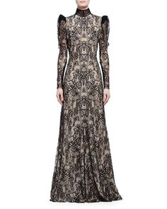 ALEXANDER MCQUEEN Long-Sleeve Open-Back Lace Gown, Black/Flesh…