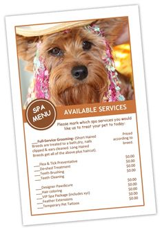 Grooming Price Sheets Template - Pet Business Dashboard