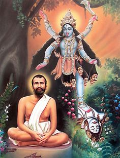 Ramakrishna Paramhansa with Goddess Kali - Hindu Posters (Reprint on Paper - Unframed) Kali Puja, Durga Kali, Kali Hindu, Shiva Shakti, Hindu Art, Kali Mantra, Maa Kali Images, Krishna, Mother Kali