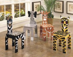 Powell Furniture Set of 4 Animal Activity Chairs Powell Features Silkscreened MDF panel of animal patterns of Zebra Tiger Paint Kids Table, Safari Thema, Jungle Theme Classroom, Classroom Ideas, Powell Furniture, Table Furniture, Jungle Room, Jungle Safari, Toddler Furniture