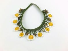Crochet Necklace Yellow and White Oya Lace Flowers Crochet Necklace Crocheted Jewelry Turkish Oya Beaded Daisy Choker Necklace Statement Kni Knitted Necklace, Crochet Earrings, Lace Flowers, Crochet Flowers, Floral Necklace, Pearl Necklace, Choker, Unique Necklaces, Crochet Accessories